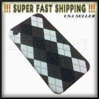 iPhone 4 Black Grey White Plaid Argyle Fabric Hard Snap On Cover Case