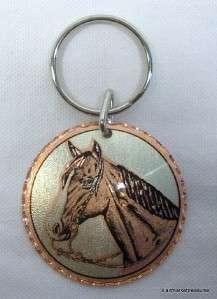 Copper Horse Horsehead Keychain Key Ring Western Americana NEW