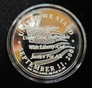 SILVER 1 TROY OZ. 9/11  God Bless America Commemorative coin (.999