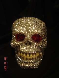 Hand Made Rinestone Covered Skull OOAK Halloween SCARY