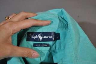 POLO RALPH LAUREN AQUA GREEN POCKET SHIELD SPORT OXFORD SHIRT L