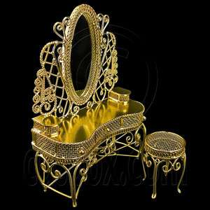 Gold New Wire Vanity Desk Chair Mirror 112 Dolls House Dollhouse