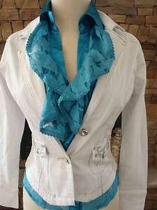 Clash Jeans White Silver Metallic Stitch Jacket S M L XL BNWT $115