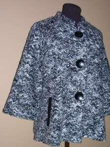 ALFANI WOMEN Black Gray Sponge Style Lined Crop Swing Career Cardian