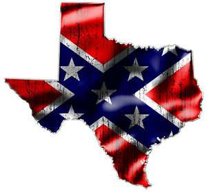 TEXAS  TWO Confederate Rebel Flag Vinyl Decals