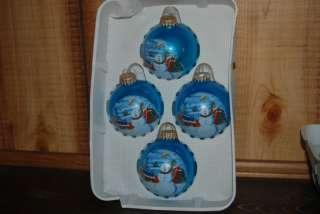 Blustery Snowman Fun Globe Christmas Ornaments Blue