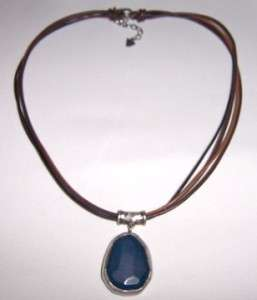 Sterling Silver Blue Jade Pendant Necklace N1783 Retired Gift Box
