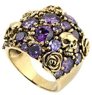 BIG DOME AMETHYST SKULL ROSE GOLD BRASS PUNK RING 8.5