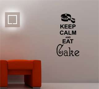CALM AND EAT CAKE KITCHEN LOUNGE QUOTE wall art sticker vinyl DECAL