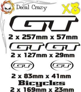 GT Bicycles Mountain Bike Vinyl decalsstickers x8