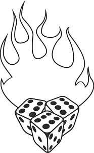 666 FLAMING DICE CAR STICKER van decal rat camper dub