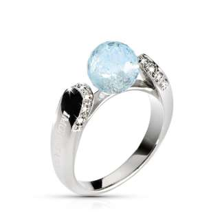 STAINLESS STEEL RING ECLIPSE SRR14 N14 NATURAL LIGHT BLUE TOPAZ WHITE