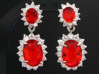 White Gold Plated Faux Red Ruby Necklace Jewellery Set