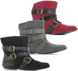 Ladies Women Black Grey Red Pirate Suede Flat Pixie Ankle Boots Size 3