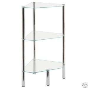 ICE CLEAR GLASS 3 TIER CORNER SHELF TABLE UNIT 246