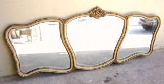 Great antique French patinated big wall mirror # 05741