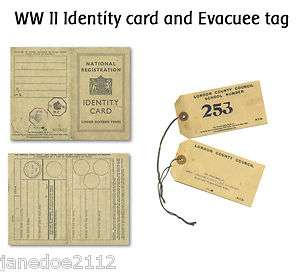 II / WORLD WAR 2 Identity card and Evacuee tag   KS2 teaching resource