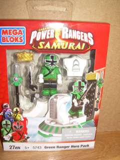 NIB POWER RANGERS SAMURAI Mega Bloks 5743 GREEN RANGER HERO PACK ~ 27