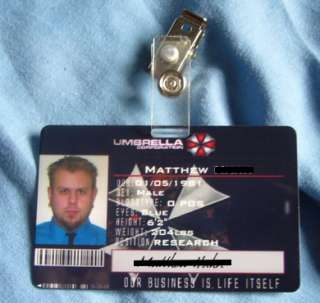 Resident Evil Umbrella Corp ID Card UBCS Zombie cosplay