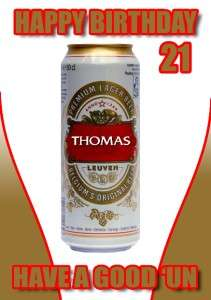 PERSONALISED STELLA LAGER DRINKING 21ST BIRTHDAY CARD