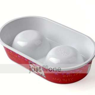 Red Plastic Pet Dog Cat Water Food Double Feeder Bowls