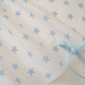 STARS   WHITE AND BABY BLUE COTTON   FABRIC RETRO