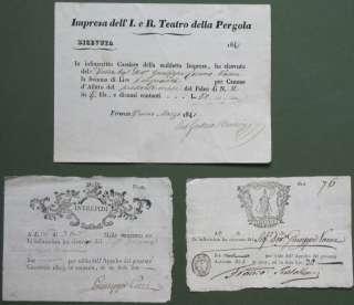 TEATRO. Tre ricevute per affitto di un palco 1803/1848