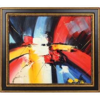 Red Blue Yellow Hand Painted Oil Canvas Art with Frame   JEG BQ31