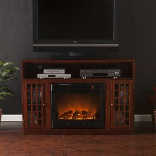 Media 50 Console with Electric Fireplace in Mahogany Stain  Wayfair