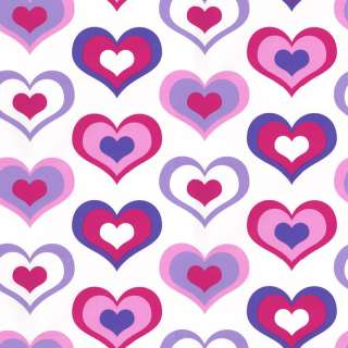 Pink Purple White 303501 Retro Love Hearts Wallpaper