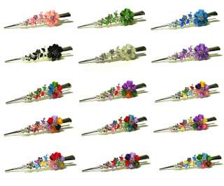 Big Multi Colors Flower Rhinestone Hair Claw Clamp Clip KPH5568