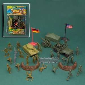 COMBAT FORCE Tan Green 2 inch Plastic Army Men 36 Piece Figures