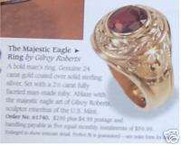 FRANKLIN MINT AMERICAN MAJESTIC GEMSTON GOLD EAGLE RING