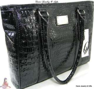 Nine West Purse XL Shoulder Hand Bag Black Crocodile Patent Brunch