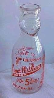 COP THE CREAM QUART MILK BOTTLE ROGER WILLIAMS DAIRY JOHNSTON R.I