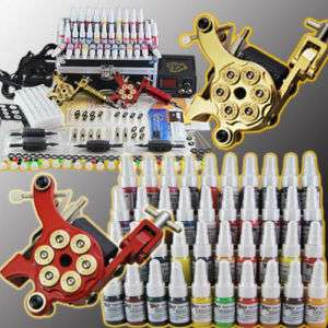 Tatuaje kit 2 top maquinas 40 tintas tattoo tatuar A177