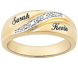 Mens Diamond Accent Gold Plated Wedding Band