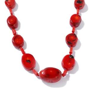Studio Barse Red Bamboo Coral Nugget Sterling Silver 28 1/2 Necklace