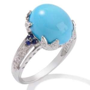 Sleeping Beauty Turquoise, Blue Sapphire and Diamond 14K White Gold