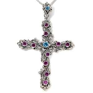 Butler Gemstone Fleur de Lis Cross Pendant with 18 Chain