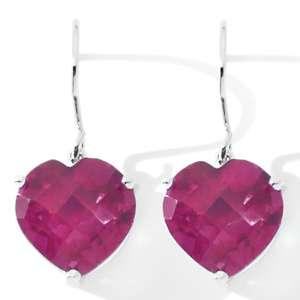 Heart Shaped Quartz Sterling Silver Earrings