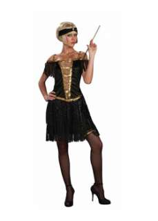 Includes a black fringed flapper dress with gold sequin trim