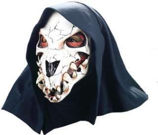 Latex rubber face mask with attached fabric hood. Elastic straps