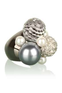 Kenneth Jay Lane  Multi Pearl & Gunmetal Crystal Cluster Ring by