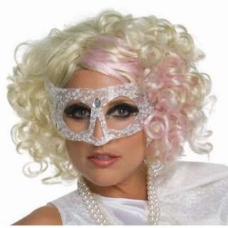Lady Gaga Curly Blonde Adult Wig with Pink Highlights   Includes Wig.