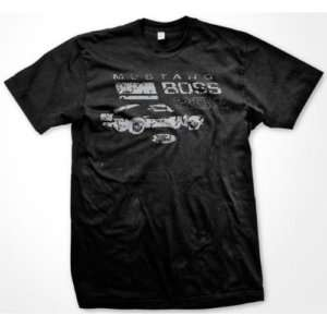 Mustang BOSS 302 Faded Ford Cobra Hot Rod Mens T shirt