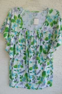 NEW FASHION BUG MISSES GREEN PRINT COTTON TUNIC, BANDED HEM, SCOOP