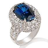 96ct Absolute™ and Created Sapphire Sterling Silver Oval Ring
