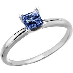 Prong Solitaire 14K White Gold Ring with Fancy Blue Diamond 0.1+ carat