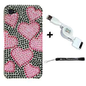 IPHONE 4 / HD FULL DIAMOND CASE BLACK W/ HOT PINK HEART